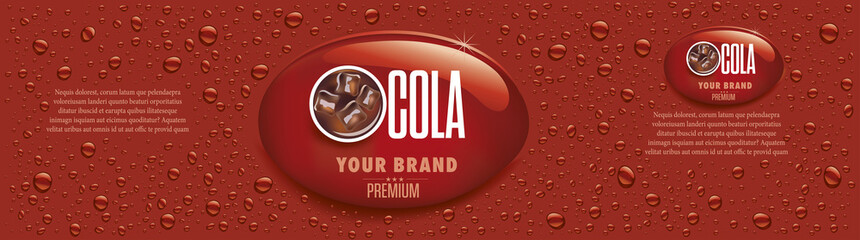 Fototapeta cola drink packaging with many drops and ice cubes in drink