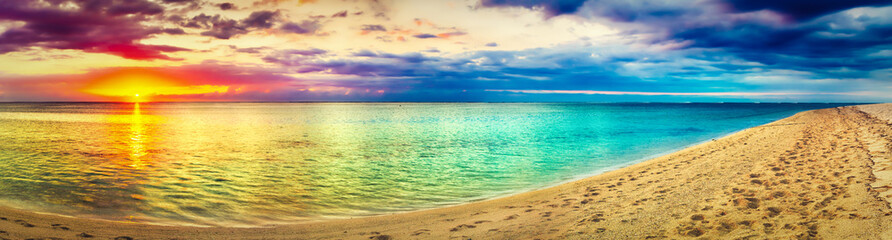 Seaview at sunset. Amazing landscape. Beautiful beach panorama