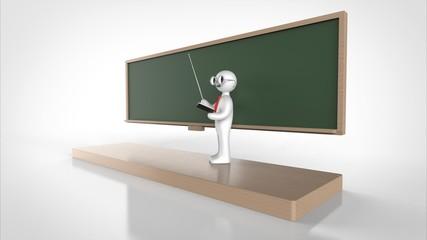 教授と黒板 パース