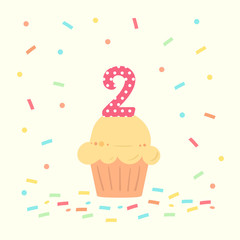 happy second birthday card with cupcake and number two in flat design style, vector illustration