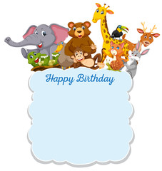 Happy Birthday wild animals card