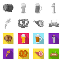 Isolated object of pub and bar logo. Set of pub and interior stock vector illustration.