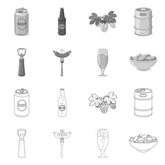 Isolated object of pub and bar sign. Set of pub and interior vector icon for stock.