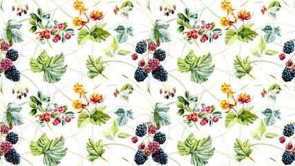 Seamless pattern with wild berries. Hand painted watercolor illustration.