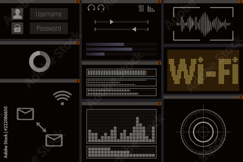 PC software with wi-fi  Screen vector illustration  WEB