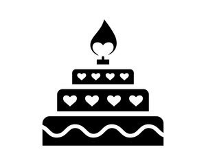 birthday heart cake love valentine amour romance romantic lover image vector icon logo symbol