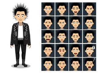 Punk Spike Head Man Cartoon Emotion faces Vector Illustration