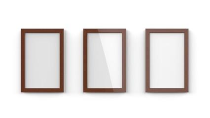 木製額縁 濃い色 縦置き 3枚