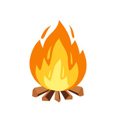 Vector campfire and camping sign in cartoon style illustration. Burning wood pile, fireplace or outdoor tourism icon on white background