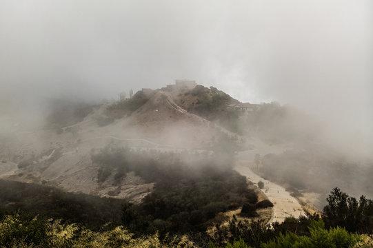 fog in mountains malibu
