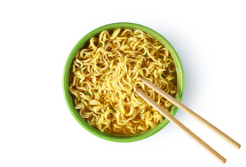 Plate of instant noodles on white background.