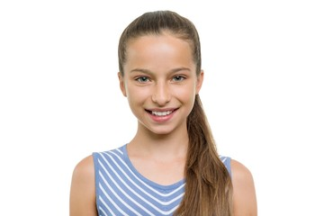 Portrait of beautiful girl of 10, 11 years old. Child with perfect white smile, isolated on white background