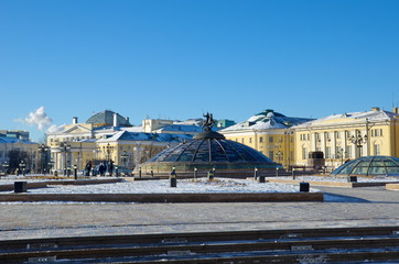 "Moscow, Russia - January 9, 2018: Manege square. Fountain ""Clock of Peace"" on the dome of the underground shopping center ""Okhotny Ryad"""
