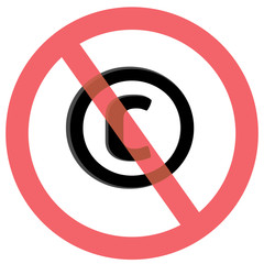 No copyright sign and symbol or Stop copyright or Stop Piracy sign symbol design with illustration design on isolated white background