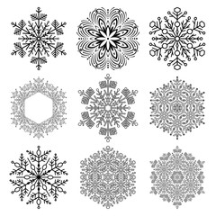 Set of black and white snowflakes. Fine winter ornaments. Snowflakes collection. Snowflakes for backgrounds and designs