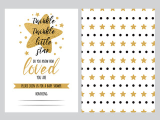 Baby shower invitation template, backgtround with cute golden star shape, vector set twinkle