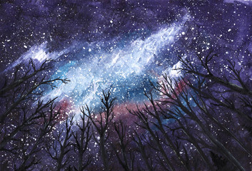 Dark night - Milky Way in the sky through silhouettes of trees - Universe watercolor hand-drawn illustration