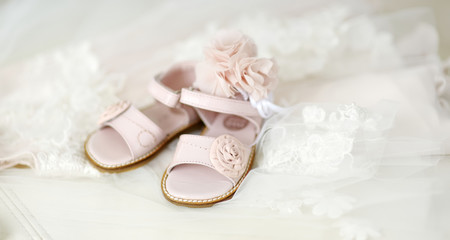 Baby girl christening shoes and headband