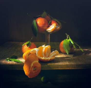 still life with tangerines. citrus. vintage.
