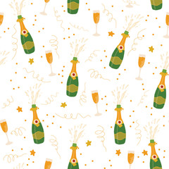 Champagne flutes and bottles vector seamless pattern background. Hand drawn illustration of champagne explosion and champagne glasses. Great for Party, New Years Eve, Christmas, Holidays, card, invite