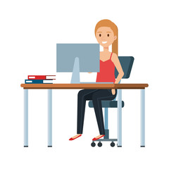 young woman at desk with desktop