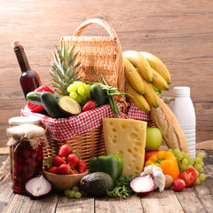 basket with grocery