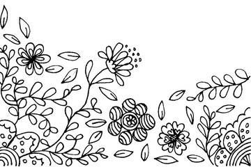 Flower frame black and white illustration by hand drawn