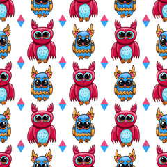 Seamless pattern with fantastic cute vector owl