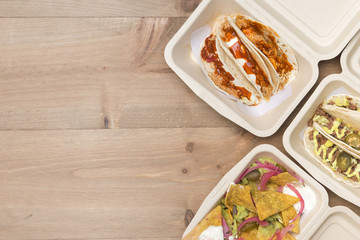 Mexican takeaway food in eco friendly material