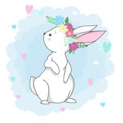 Cute white rabbit  romantic bunny girl