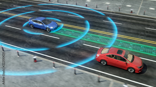 Autonomous self driving electric car change the lane and
