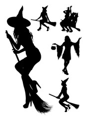 Witch silhouette 01. Good use for symbol, logo, web icon, mascot, sign, or any design you want.