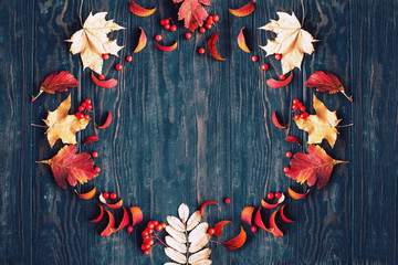 Fototapete - Autumn background with maple and rowan leaves and berries.Copy space.