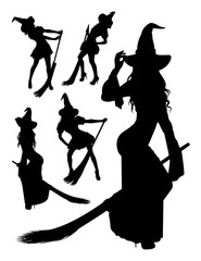 Witch silhouette 03. Good use for symbol, logo, web icon, mascot, sign, or any design you want.