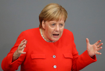 German Chancellor Angela Merkel speaks during a session at the lower house of parliament Bundestag in Berlin