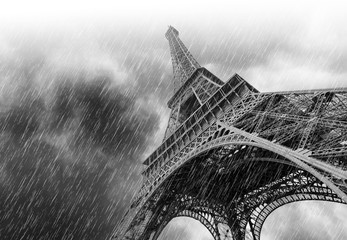 Dramatic Sky during heavy Rain and Eiffel Tower in Paris, black and white picture