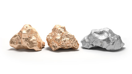 Gold and silver nuggets on a white background. 3d render
