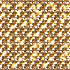 Gold glitter. Seamless pattern.. Celebratory background. Round elements gold shades. Glow effect. New Year, Christmas, wedding, birthday