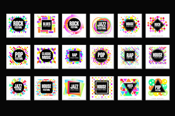 Music Festival logo set, classic, house, pop, rap, jazz music design element vector Illustrations