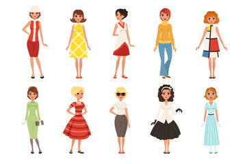 Young women wearing retro clothing set, vintage fashion people from 50s and 60s vector Illustrations