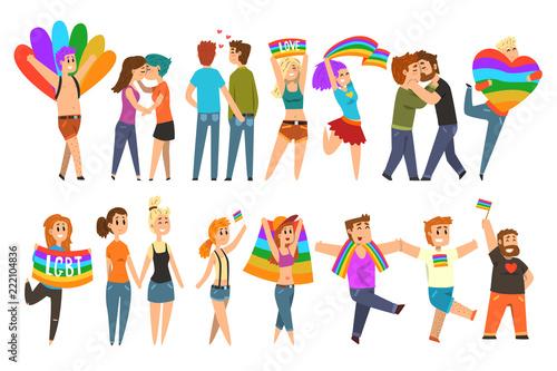 Lgbt community celebrating gay pride, love parade cartoon