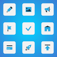 Interface icons colored set with launch, flag, checkmark and other target