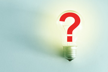 Light Bulb with question mark, concept of idea