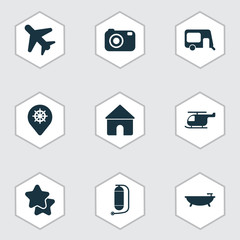 Tourism icons set with house on wheels, airplane in the sky, camera and other home  elements. Isolated vector illustration tourism icons.