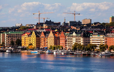 Stockholm, colorful buildings near embankment