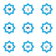 Trip icons colored set with camera, rocket, house on wheels and other caravan  elements. Isolated vector illustration trip icons.