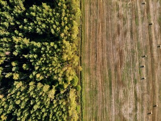 stack of hay, drone photography