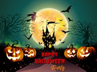 Halloween pumpkins background night horror.-vector illustration