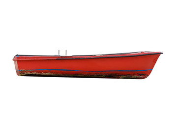 red wooden fishing boat isolated on white background