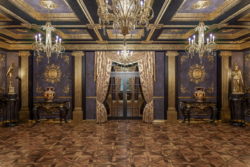 3d rendering of the hall in classical style Cinema 4D Corona renderer Wall mural